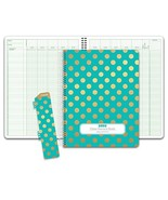 Class Record Book for 9-10 Weeks. 50 Names R1010 Gold Dots Turquoise - $19.90