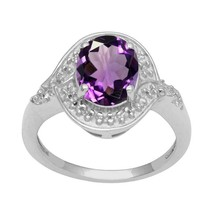 925 Sterling Silver Oval Shape Amethyst Gemstone Party Wear Ring - $21.93