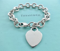 Authentic Tiffany and Co. Heart Bracelet Plain Heart Tag Pendant Chain Link Brac - $125.00
