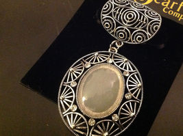 Vintage Style Silver Tone Clear Crystals and Large White Stone Scarf Pendant image 5