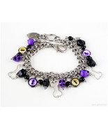 Cat Eye Charm Bracelet, Glass Charms, Stainless Ste - $40.00