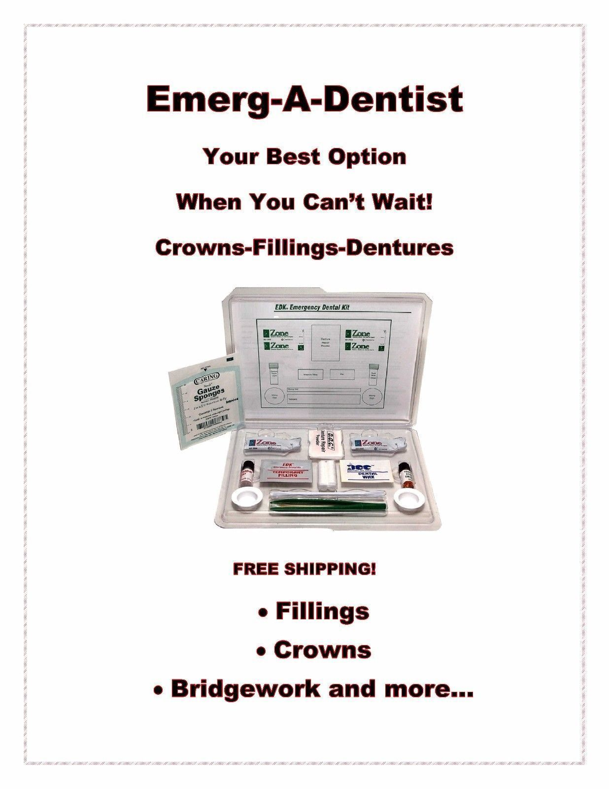 Primary image for Emerg-A-Dent Deluxe First Aid Emergency Kit by EDK Fillings-Dentures-Crowns