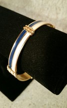 Monet 1/2 Inch Wide Bangle Bracelet Gold Tone White Blue Enamel Signed V... - $35.00