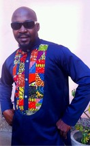 Odeneho Wear Men's Navy Blue Polished Cotton Top/Ankara Patch. African Clothing. - $75.00