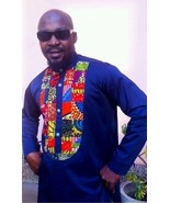 Odeneho Wear Men's Navy Blue Polished Cotton Top/Ankara Patch. African C... - $75.00