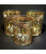 3 (Three) VTG CULVER GLASS VALENCIA 13oz Double Old Fashion Glasses 24K ... - $85.49