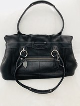 Coach Purse Penelope Black Handbag Ruffled Top Pebbled Leather B1049-f14686 - $45.99