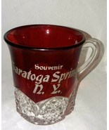 Vintage Button Arches Ruby Flashed Glass Saratoga Springs NY Tumbler w H... - $18.99