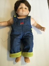 "Pleasant Company Vintage Vinyl Cloth 16"" Precious Bitty Baby Boy Doll In Overall - $59.39"
