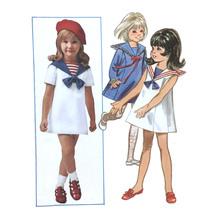 1960s Vtg Butterick Sewing Pattern 5257 Childs Sailor Dress Nautical Sz ... - $7.95