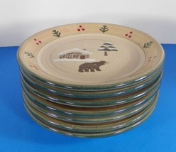Sonoma Lodge Salad Plate (S) Lot Of 7 Cabin With Bear - $44.50