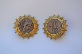 Vintage large Greek or Roman revival clip on earrings 1928? cameo coin a... - $33.65