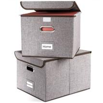 Prandom File Boxes | Collapsible Decorative Linen Filing Storage Organizer - $51.15
