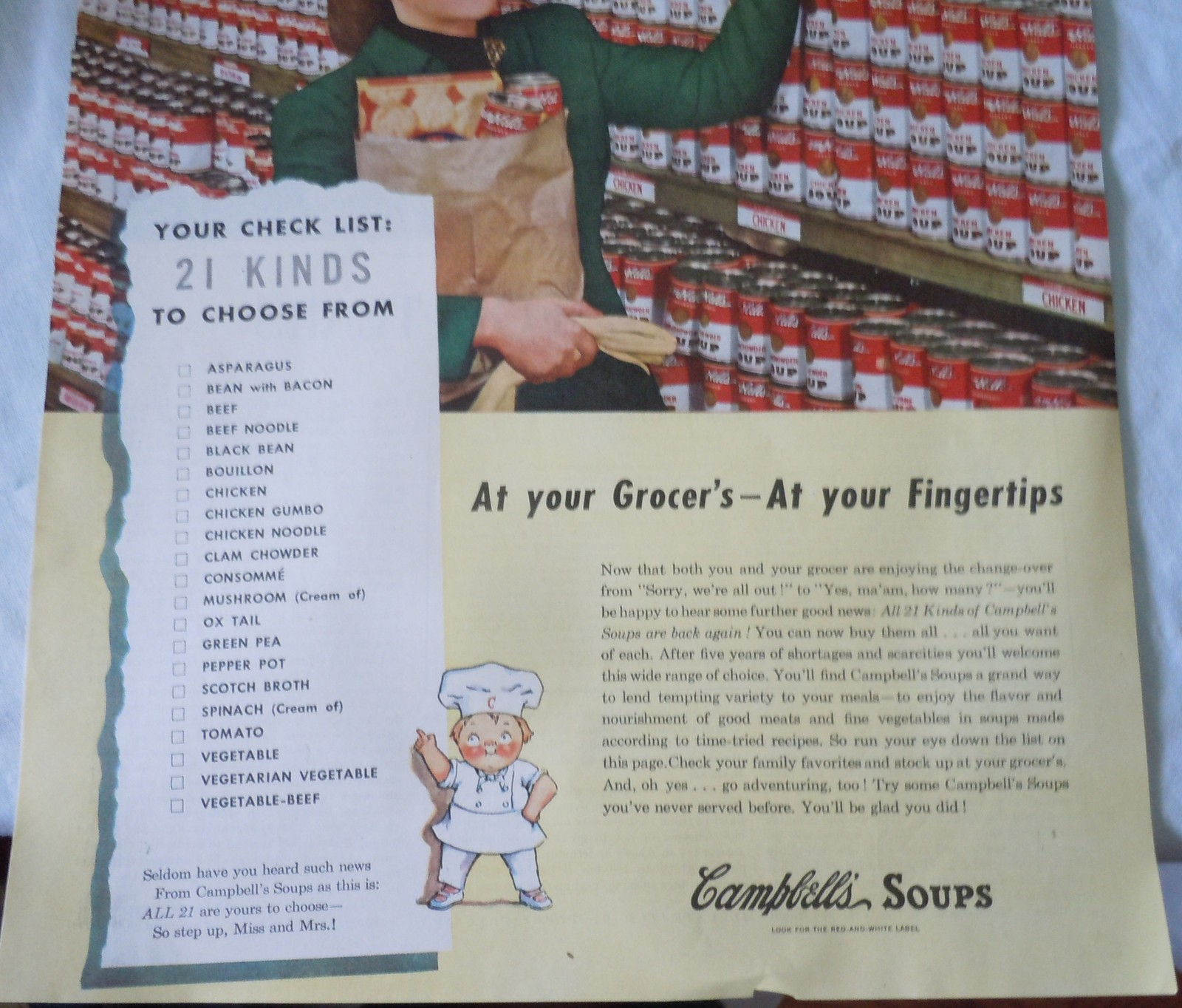 Campbell's soups 21 Kinds To Choose From Advertising Print Ad Art 1947  image 3