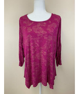 Apt 9 1X Raspberry Pink Gold Floral Print 3/4 Sleeve Shirt Plus Size Str... - $12.99