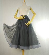 A-line Puffy Midi Tulle Skirt Women Gray Midi Tulle Skirt Gray Bridesmaid Skirt