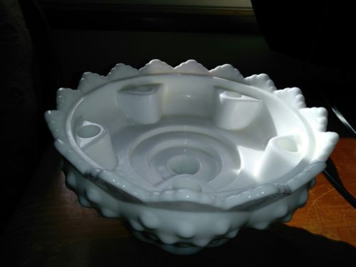 Vintage 1950s Fenton Glass Pat #3547569 Milk Glass Hobnail Candle Holder