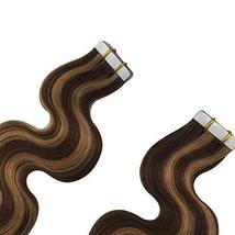 Komorebi Body Wave Human Hair Extensions Tape in Extensions Balayage Color Choco image 2