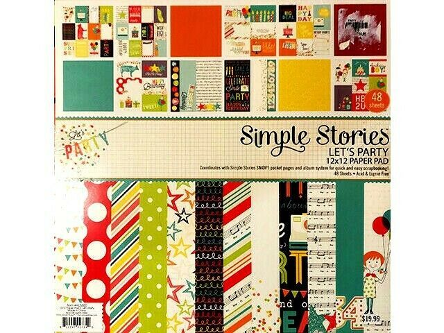 Simple Stories Let's Party 12x12 Cardstock Paper Pad #HL5300 48 Sheets