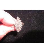 Leaf & Marcasite sterling silver ring size 6 vintage 80s rare - $35.00