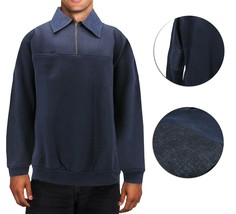 Men's Half Zip-Up Collared Sweatshirt Warm Lightweight Pullover Sweater