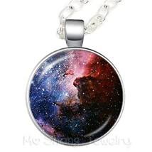 2018 New Galaxy Nebula Necklace Galaxy Universe 25mm Glass Cabochon Pendant Tren - $8.08