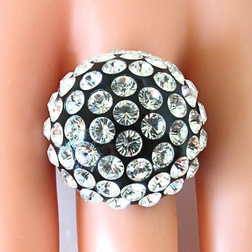 Luna Bianca By Pinky Black Acrylic Domed Ring Clear Swarovski Crystals On Dome