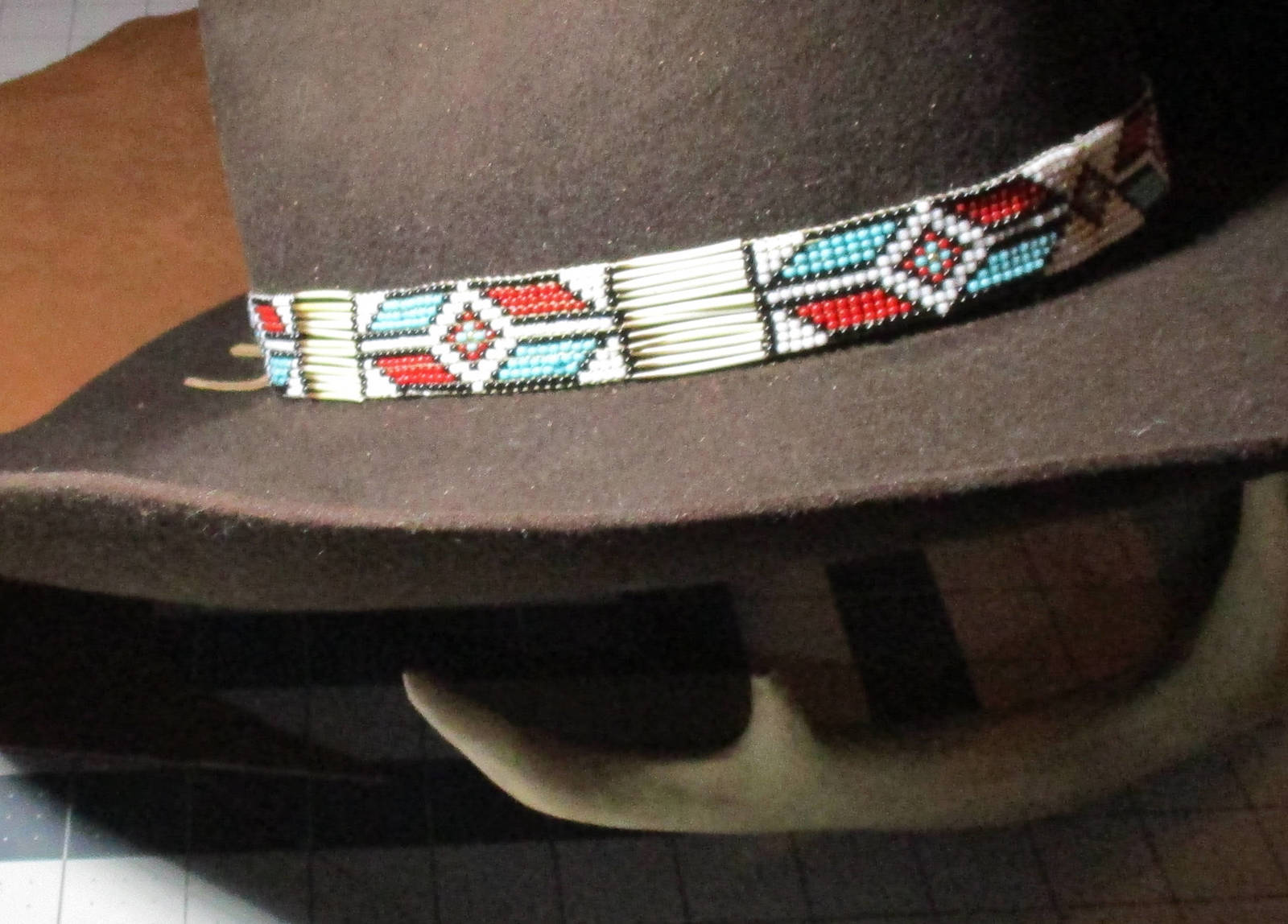Custom Made Beaded Hatband For A Cowboy Style Hat With porcupine Quills & Glass