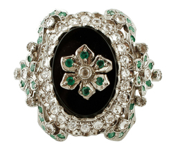 Onyx, Emeralds, White Zircons, Rose Gold and Silver Vintage Ring - $884.00