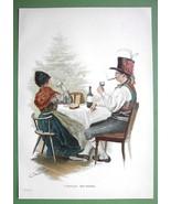 CHRISTMAS TIME Tree Dinner German Family - COLOR VICTORIAN Original Engr... - $13.17