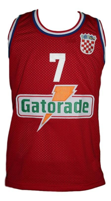 Toni kukoc  7 croatia yugoslavia custom basketball jersey red   1
