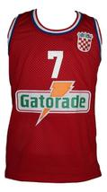 Toni kukoc  7 croatia yugoslavia custom basketball jersey red   1 thumb200