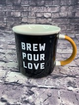 Starbucks Brew Pour Love 12 oz Mug Ceramic Black w/ MatteYellow Handle - $16.65