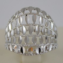 SOLID 18K WHITE GOLD BAND RING LUMINOUS AND BRIGHT, FINELY WORKED MADE IN ITALY image 1