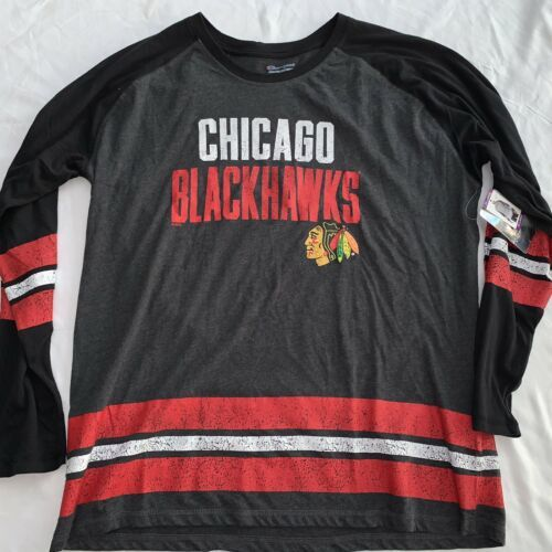 Primary image for chicago blackhawks shirt Champion Brand L/S Thin Jersey 2XL New NWT $40.00