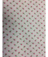 Pink Rosebud on White Background Flannel Print 100% Cotton Flannel Fabric - $10.00
