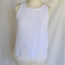 LILY WHITE Blouse S Top Rayon Cream Lacy HAND WASH - $8.00