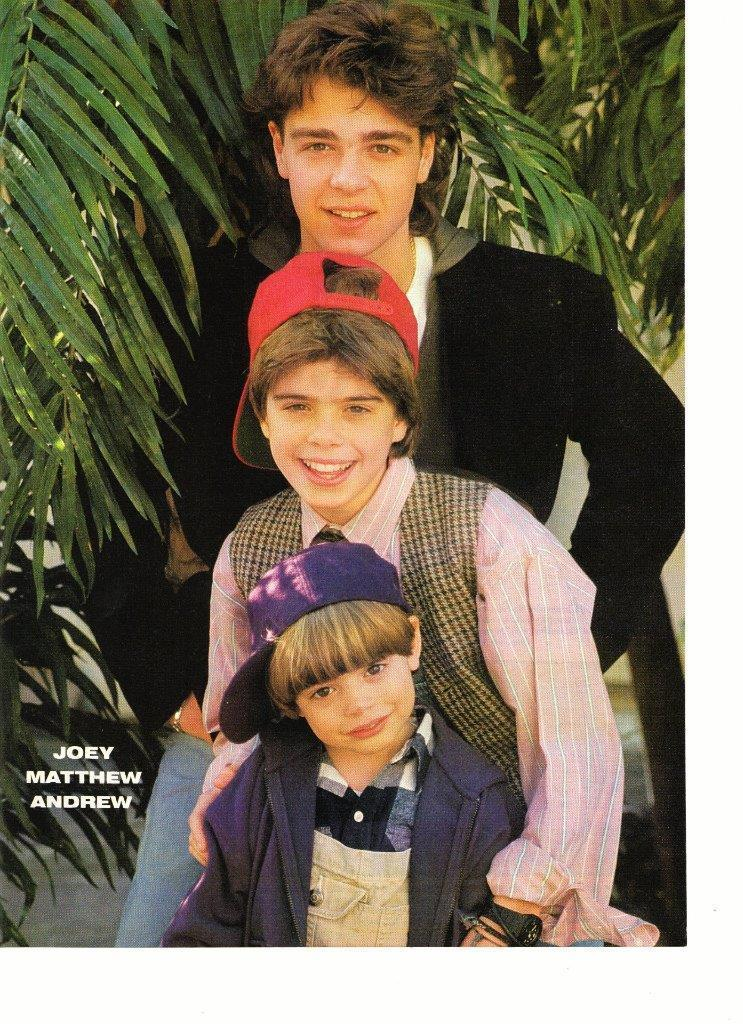 Joey Lawrence Matthew Lawrence Andy Lawrence teen magazine pinup clipping hat