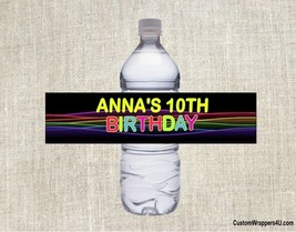 Glow Neon Retro 80's Birthday Party Favors Water Bottle Labels Personalized - ₹282.07 INR+