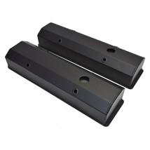 "Chevy Fabricated Aluminum Tall Valve Covers 1/4"" Rail SBC 327 350 383 400 BLACK image 2"