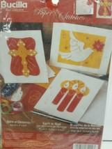 Bucilla Spirit of Christmas 3 Felt Paper Cards Kit - Cross,Dove, Candles... - $9.99