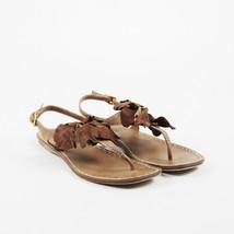 Miu Miu Brown Leather T Strap Flat Sandals SZ 38.5 - $140.00