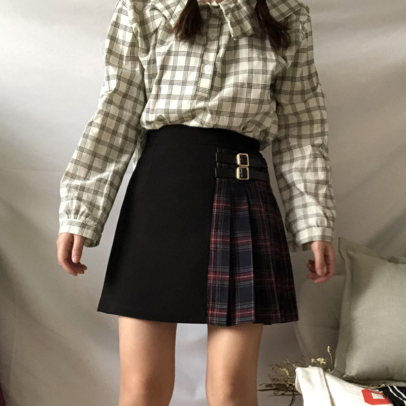 Black Navy Red Mini Plaid Skirt Women Street Style Pleated PLAID SKIRT Plus Size image 6