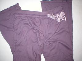EUC Womens Large Juicy Couture Pants Purple L Pockets Skull Wings Logo 32 inseam image 2