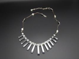 Hemalyke Serpentine Fan Bib Necklace, (Hematite), Gemstones, Sterling Si... - $45.00