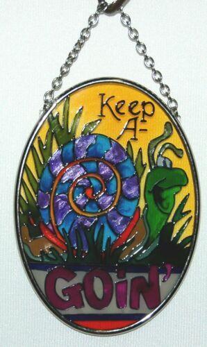 Joan Baker Designs SO197 Cheerful Snail Keep A Goin Suncatcher Glass