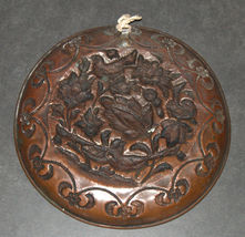 Antique Islamic Copper Tray Plate Birds Flowers Scene Oriental Wall Hang image 4