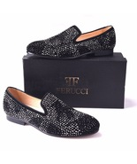 Men FERUCCI Black Slippers Loafers Flat With Crystal GZ Rhinestone - $169.99+