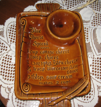 CA Pottery-Blue Cheese Spread Recipe- Serving Platter-Brown S7-USA - $12.00