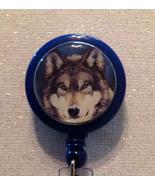 Wolf Badge Reel Id Holder Blue Alligator Clip Handmade New - $8.99